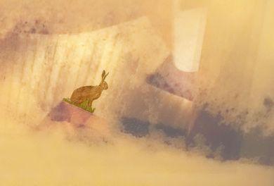 Der Hase im Winter ist auch ohne Geweih ...